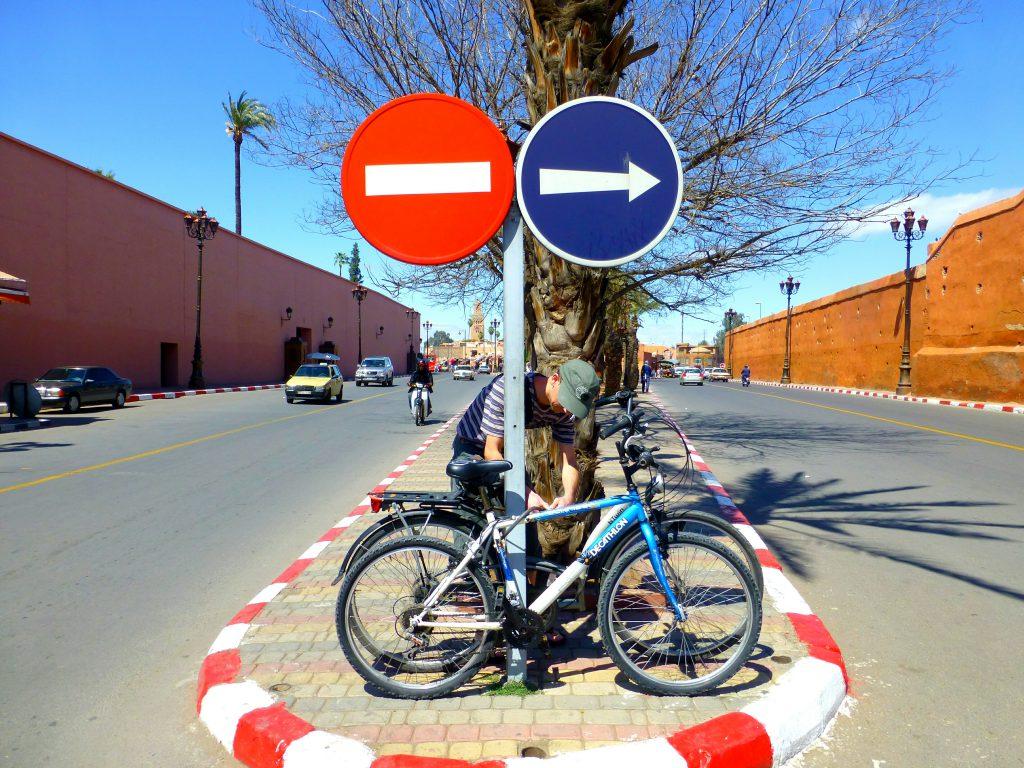 Parking the Bikes, Biking in Marrakesh