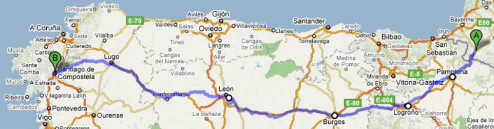 Voorbereiding Camino Frances, Map