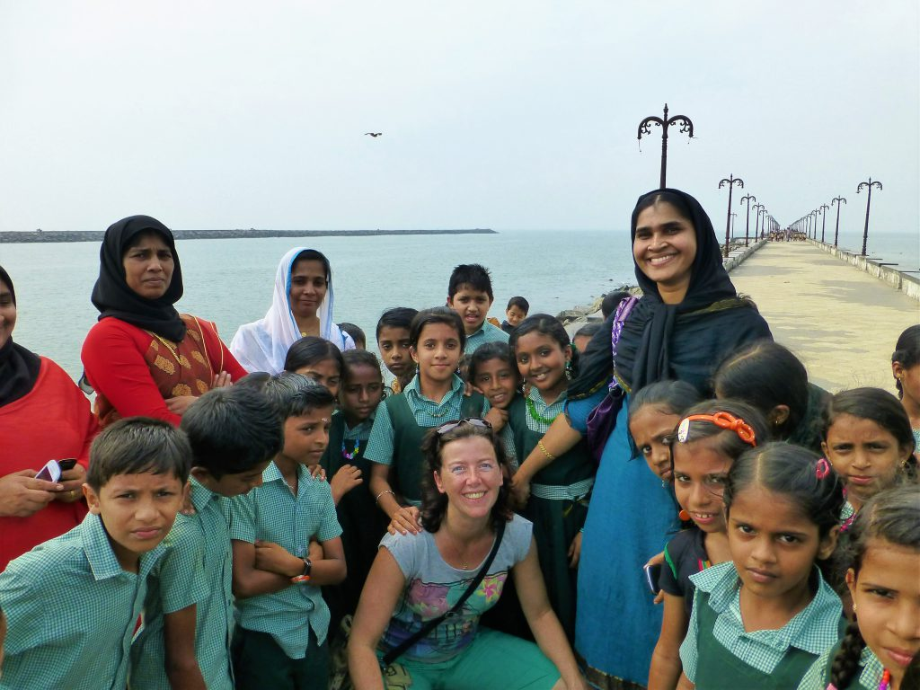 schoolkids at Beypore beach