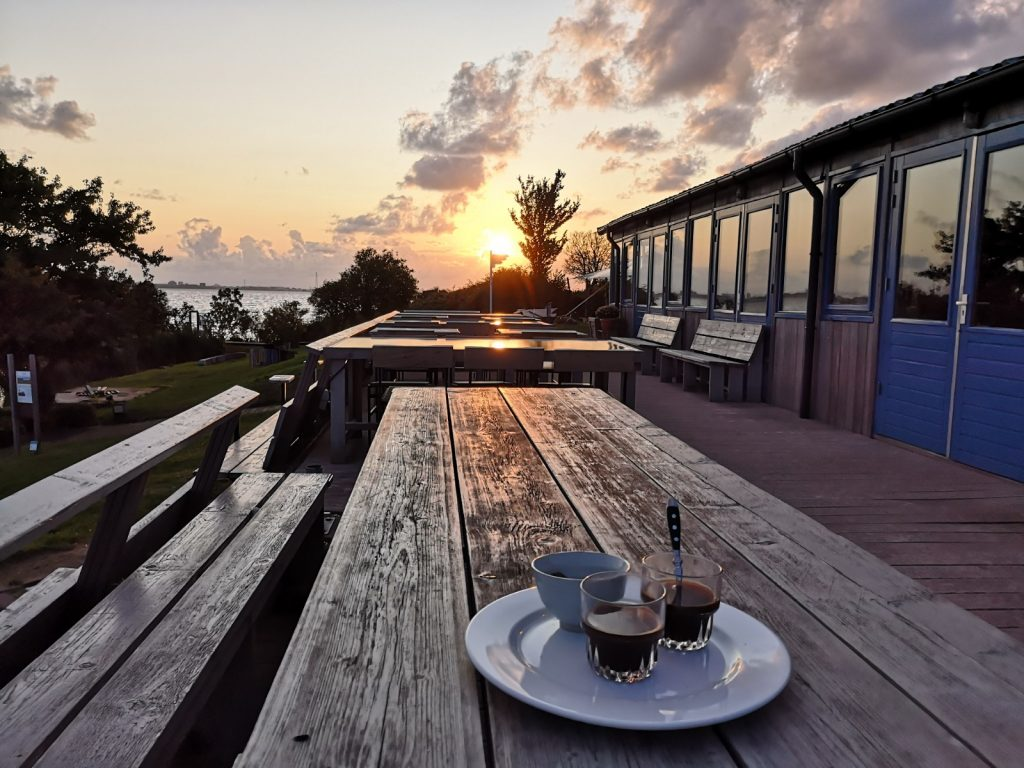 Coffee and the sunset on Pampus
