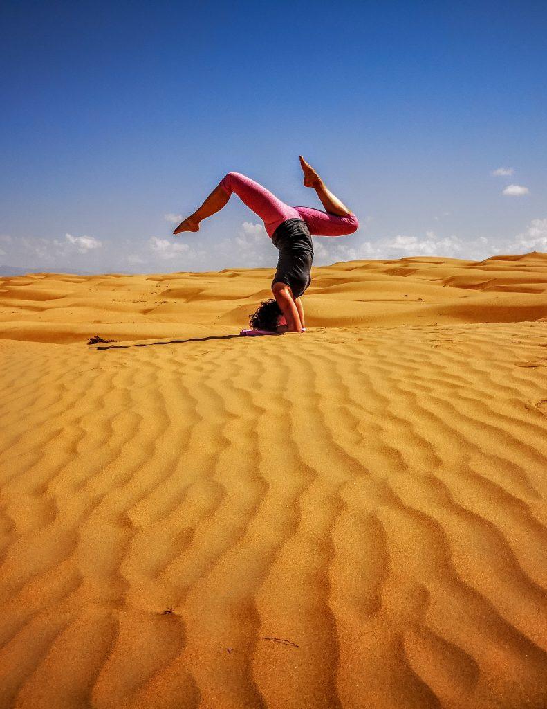 Desert yoga pose, Oman