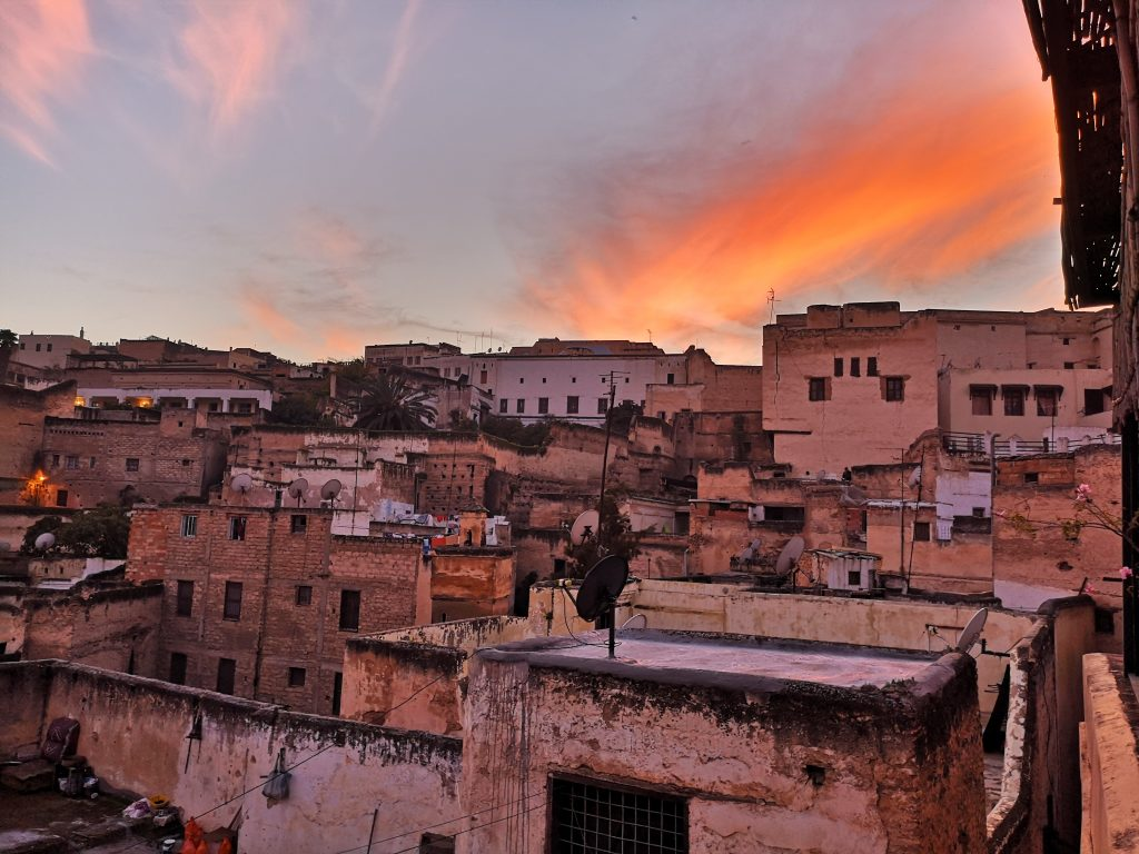 Travel Guide Fez - Sunset from the rooftop of riad Rcif in the medina