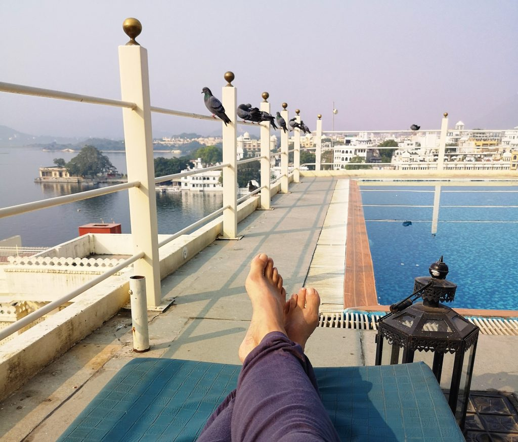 At the Swimmingpool of hotel Udaigarh