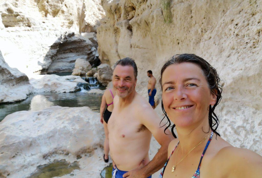 Dave en ik in de Wadi Shab - Sur, Oman