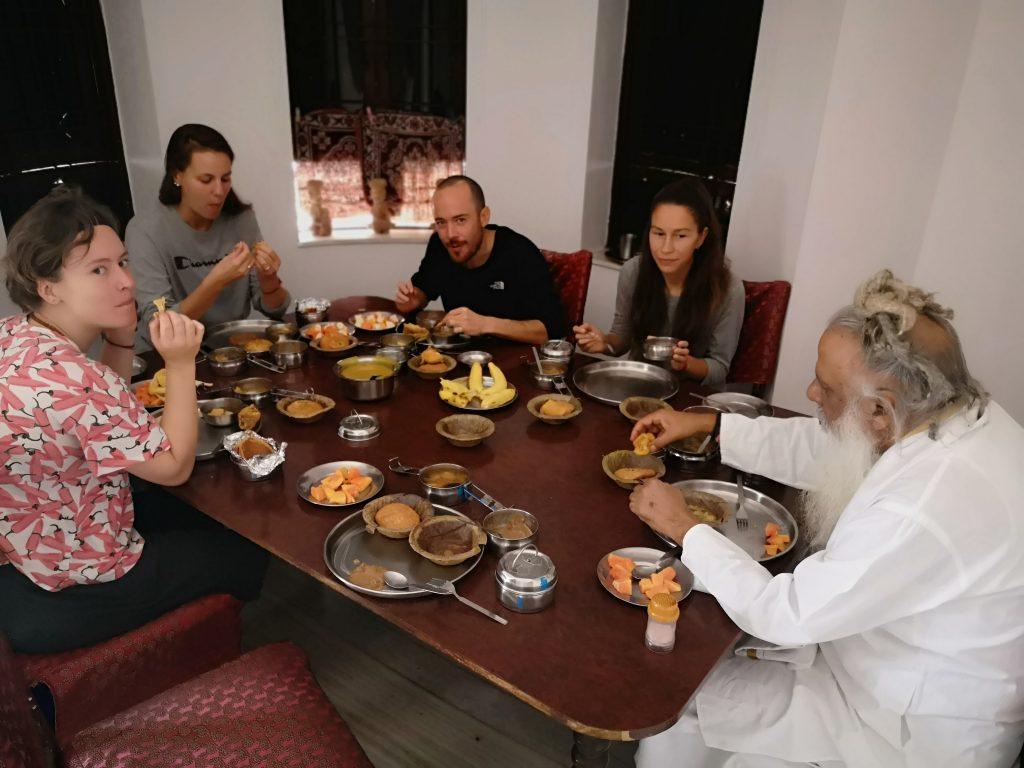 Eating vegetarian food with Swamiji - Meditation Temple Pushkar
