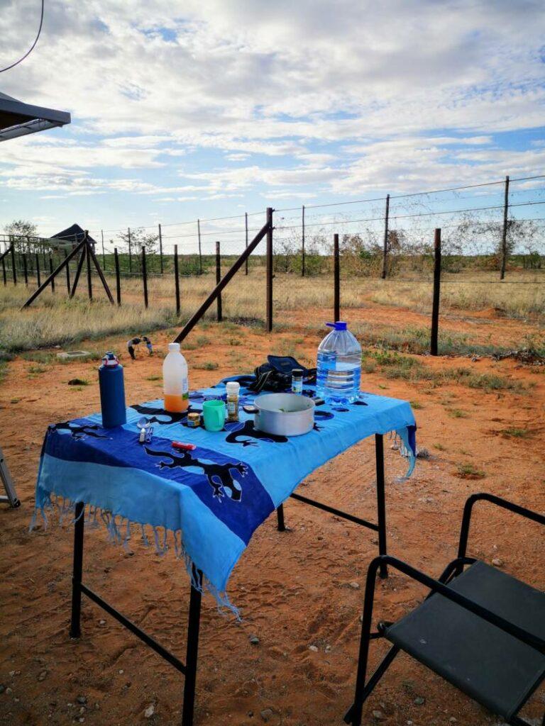 Tafelkleed mee op reis in Namibië